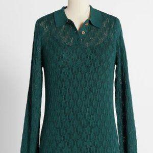 """""""Pointelle the Way"""" Dark Green Knit Shirt"""